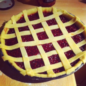 3. Roll out the remaining pastry and cut into long strips. Lattice over the top of the tart