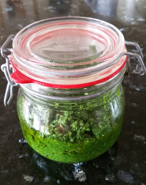 Pesto on granite