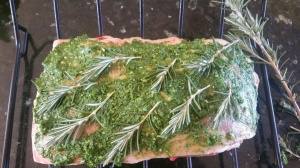 Pesto on lamb
