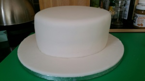The Fondant Stage: Once completely covered in fondant, you can start decorating.